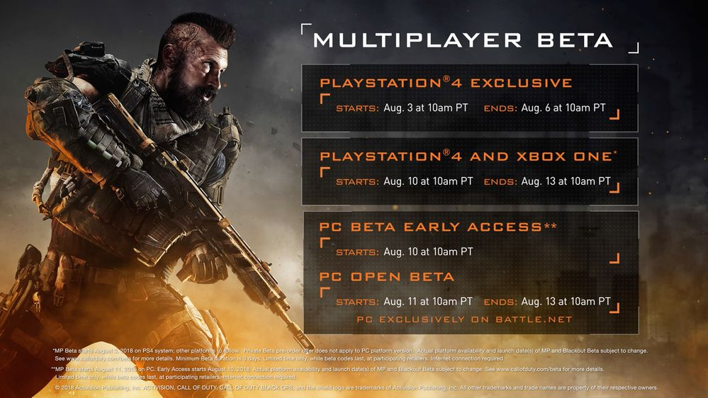 BO4 Beta Dates